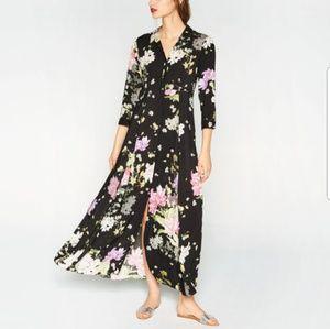 Zara Black Floral Print Button Down Maxi Dress